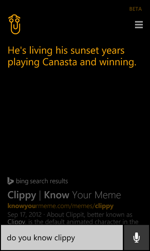 Clippy als Easter Egg in Cortana