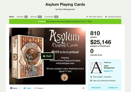 Kickstarter: Asylum Playing Cards