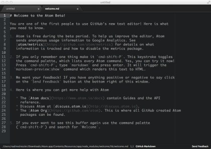 GitHub Open Source Atom Text Editor