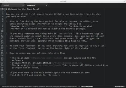 GitHub Open Source Atom Text Editor