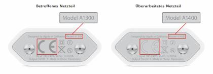 Apple-Rückruf-Aktion zum Netzteilmodell A1300