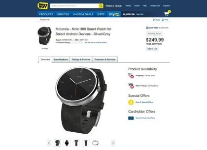Motorola Moto 360: Produktseite (Best Buy)