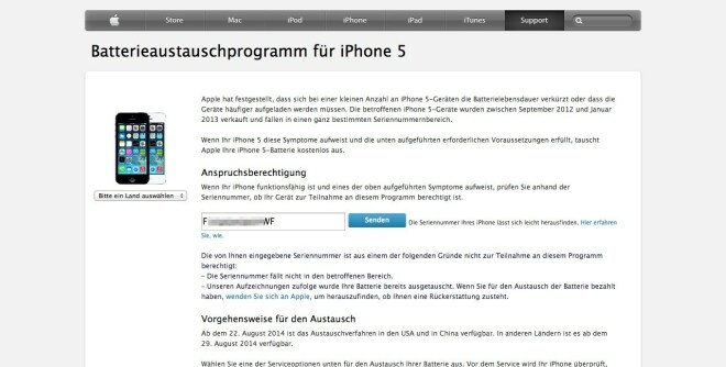 Batterieaustauschprogramm iPhone 5