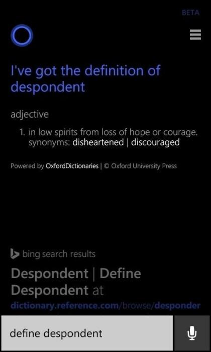 Cortana liefert Wortdefinitionen