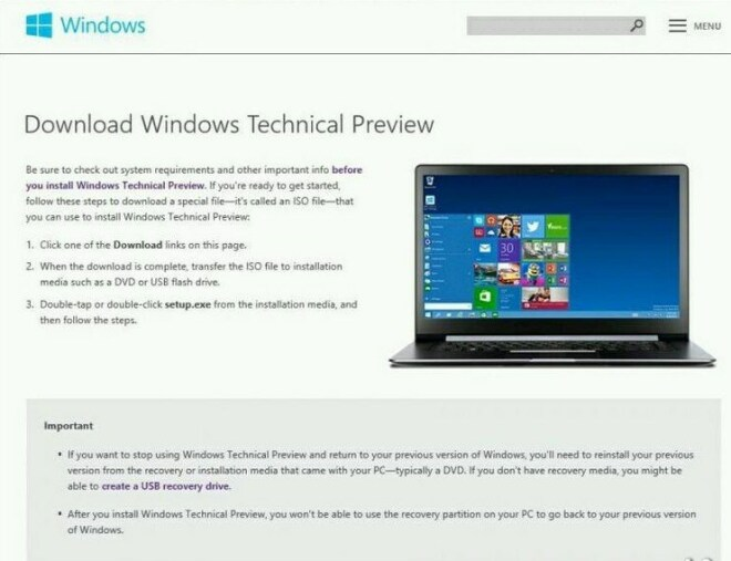 Windows Technical Preview: Download-Seite