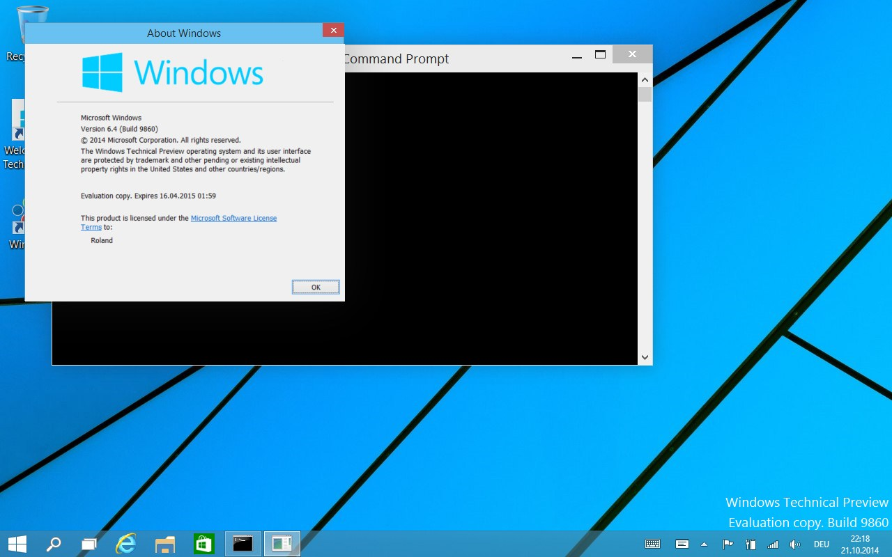 Windows 10 Preview (Build 9860)