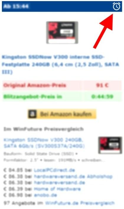 Erinnerungsfunktion für die Amazon-Blitzangebote