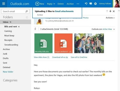 Outlook.com: Anh�nge auf OneDrive speichern