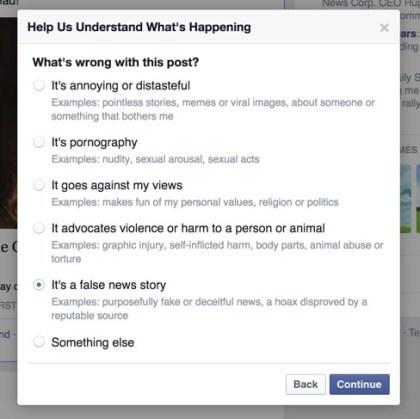 Facebook: Hoaxes melden
