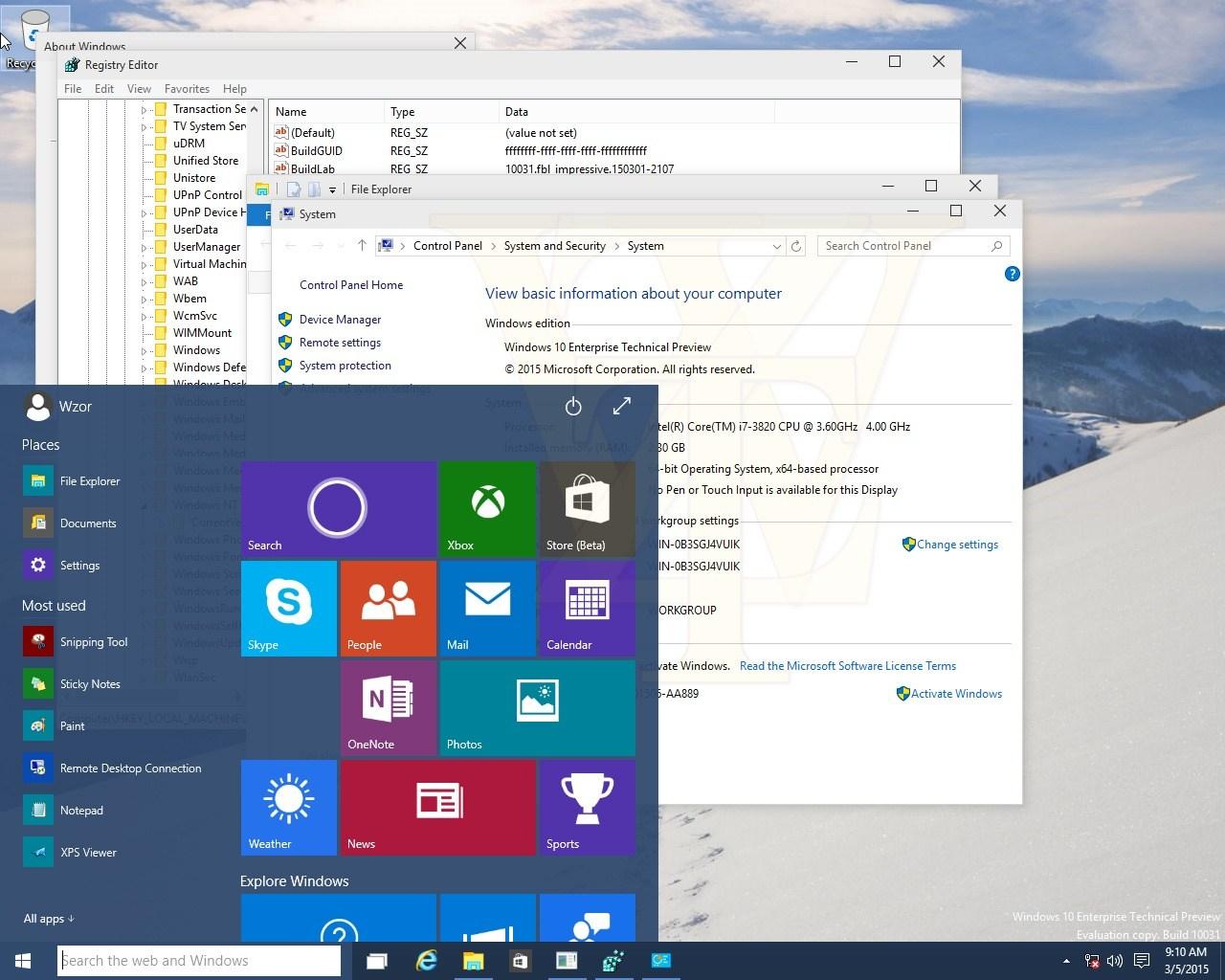 Windows 10: Build 10036 zeigt sich in Bildern, Spartan nicht dabei