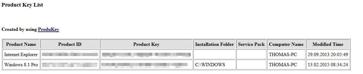 ProduKey - CD-Keys von Microsoft-Produkten auslesen Download