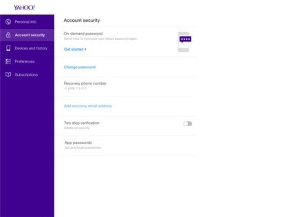 Yahoo: Login per Handy