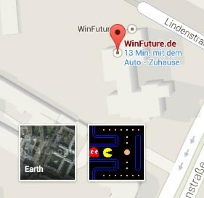 Google Maps Pac-Man-Aktion zum 1. April