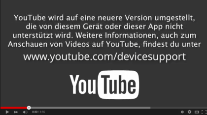 YouTube: API-Warnung