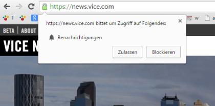 Push-Nachrichten auf Chrome 42