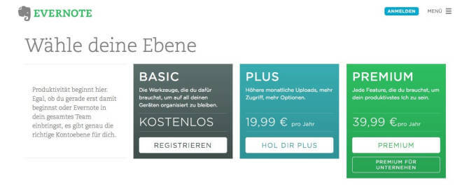 Evernote Basic, Plus und Premium