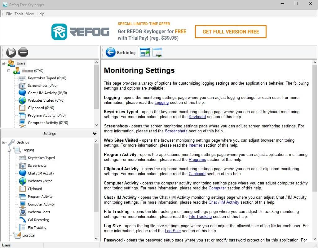 Refog Free Keylogger - Tastatureingaben und mehr aufzeichnen Download