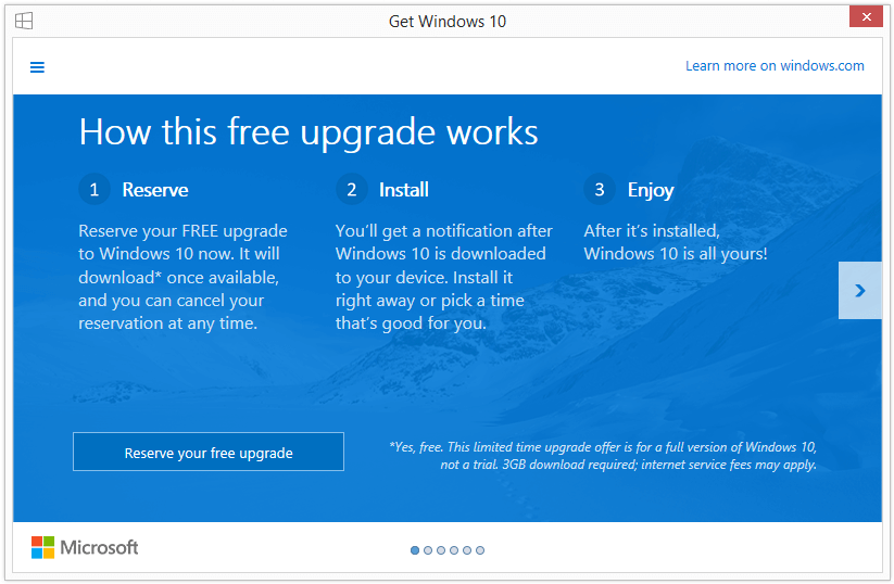 Windows 10 Upgrade-Reservierung