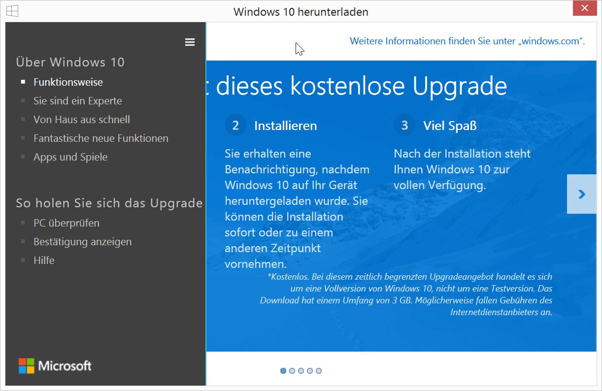 Reservierung Windows 10
