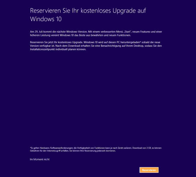 Windows 10: Reservierung auch bei der Installation von Windows 8.1