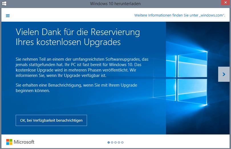 ich kann windows 10 nicht reservieren