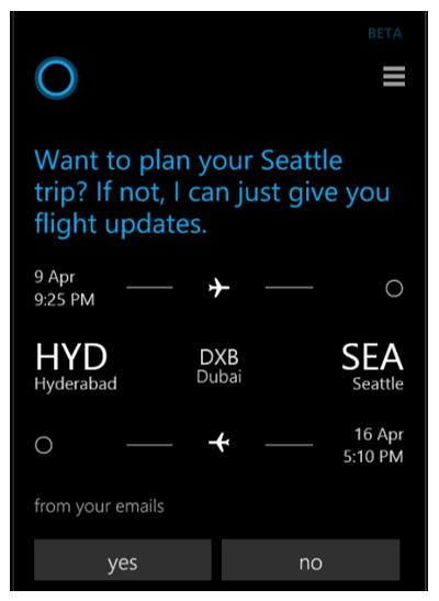 Cortana hilft dem Nutzer jetzt auch umfassend bei der Reise