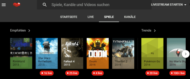 YouTube Gaming Plattform