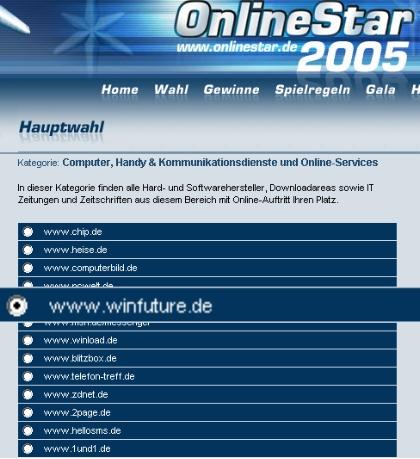 Ihre Stimme für WinFuture beim OnlineStar 2005