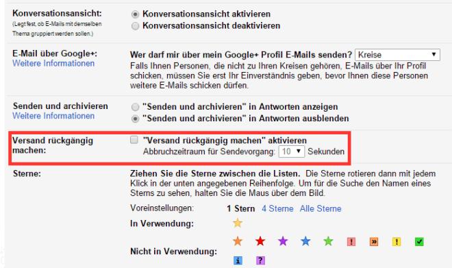 Gmail: Versand rückgängig machen
