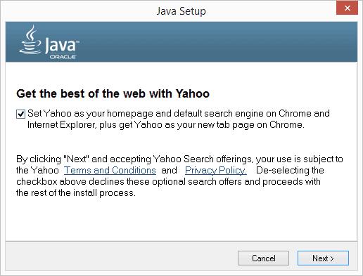 Java-Installer macht Yahoo zur Standard-Suchmaschine
