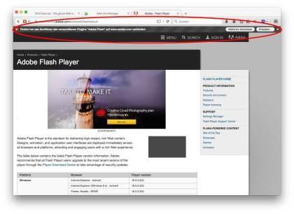 Firefox: Flash auf der Block-Liste