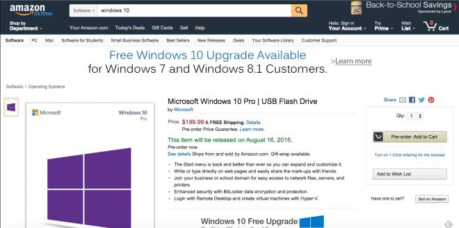 Windows-10-USB-Stick taucht bei Amazon auf, Lieferung ab 16.8.