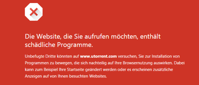 Google Safe Browsing: µTorrent