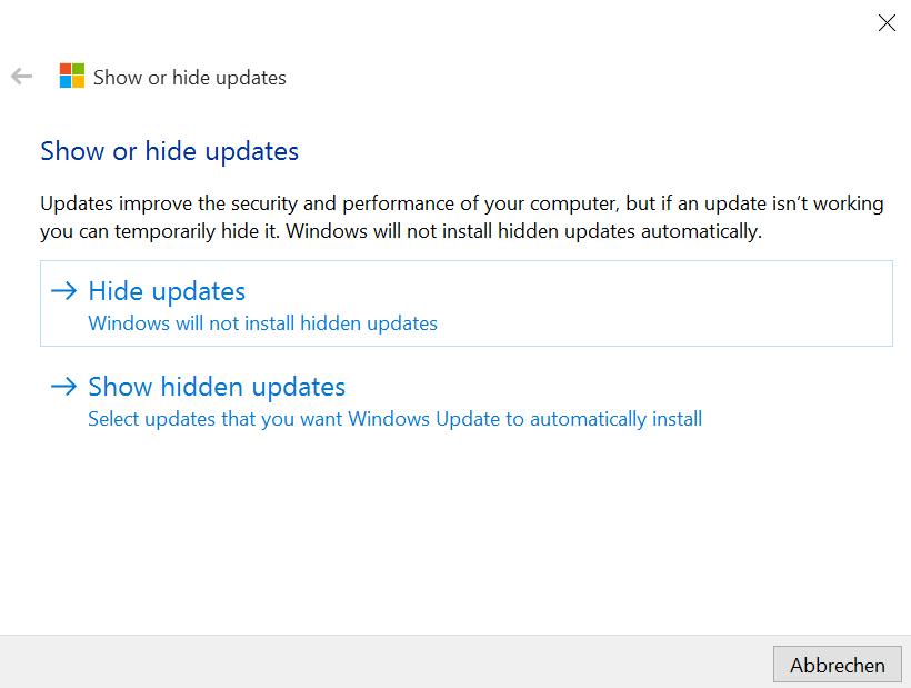 Tool zum Verstecken oder Blockieren von Windows Updates