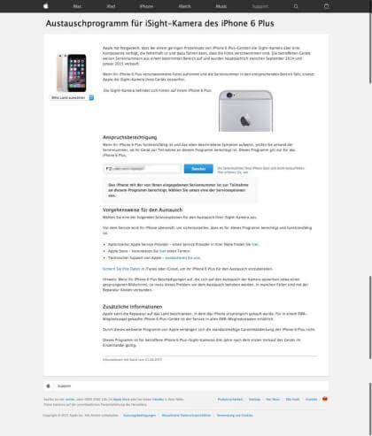 Austauschprogramm iPhone 6 Plus