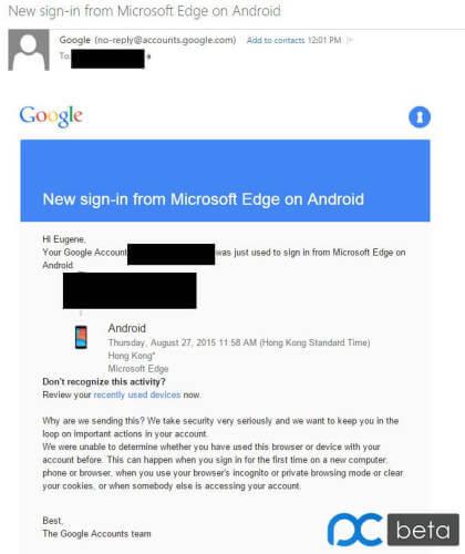 Fehlerhafte Meldung zu Edge auf Android