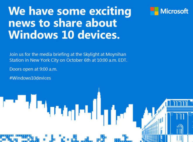 Microsoft-Event für Windows 10 Hardware 6.10.2015
