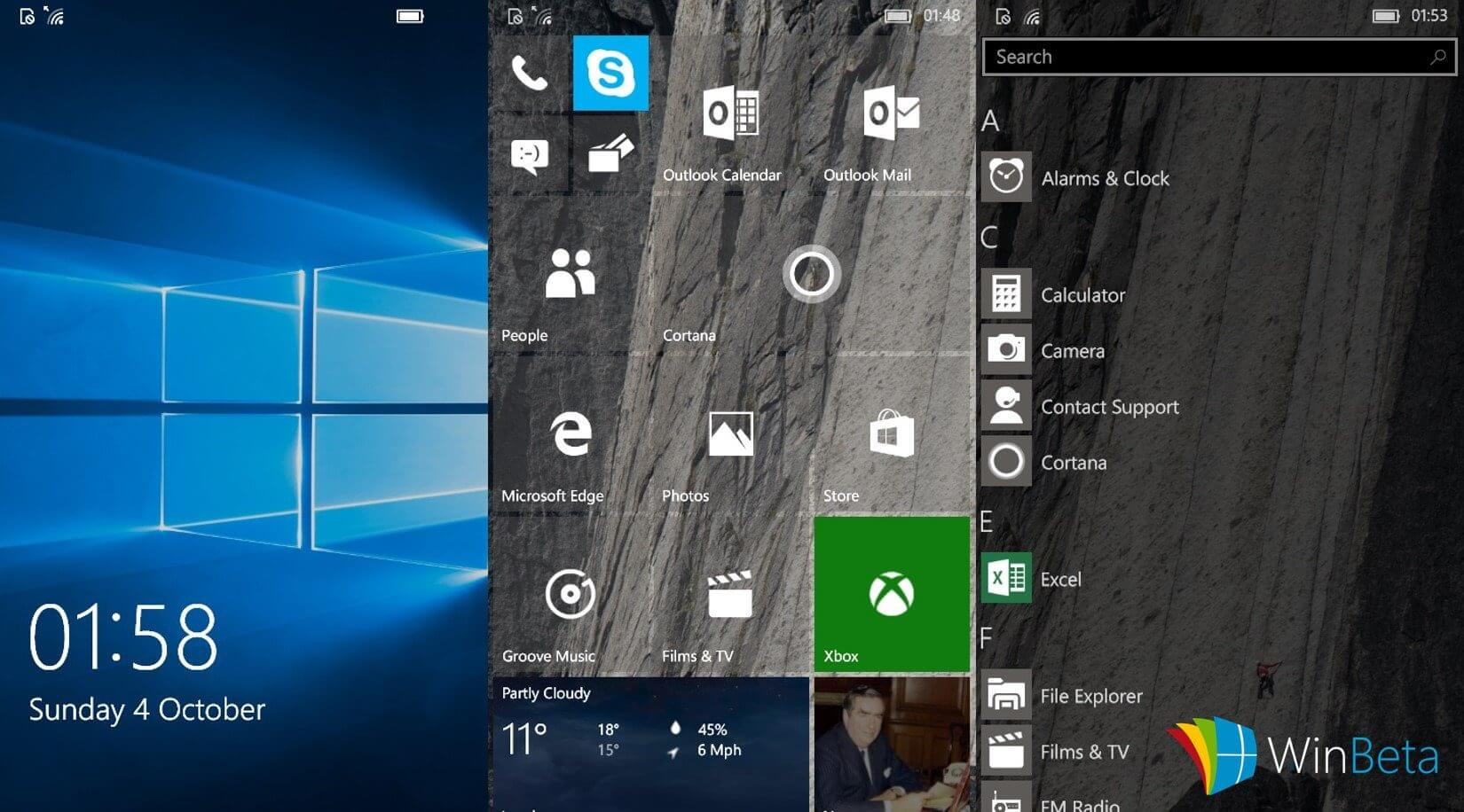 Windows 10 Mobile Build 101XX (Okt. 2015)