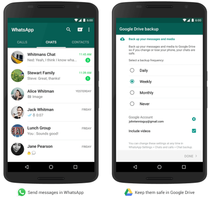 WhatsApp: Backup auf Google Drive