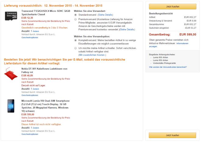 Lumia 950 & 950 XL Vorbesteller-Aktion bei Amazon