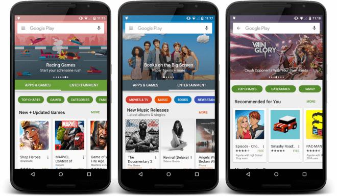 Google Play Store: Neudesign im Zuge von Android 6.0