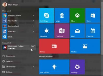 Windows 10 Build 10565: Werbung im Startmenü
