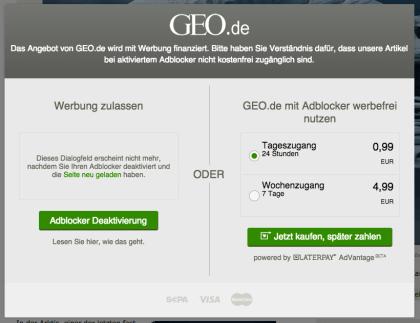 Adblocker-Blocker auf Geo.de