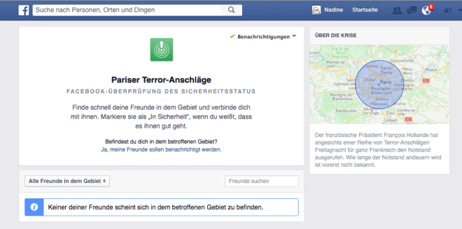 Facebook Safety Check Terror in Paris