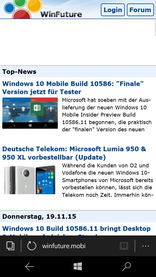 Windows 10 Mobile Build 10586: \
