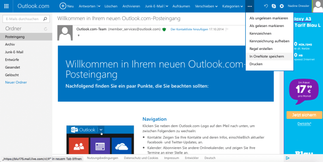 Outlook OneNote-Anbindung