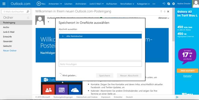 Outlook OneNote-Anbindung