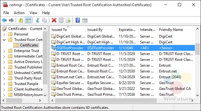 Dell DSDTestProvider Root-Zertifikat