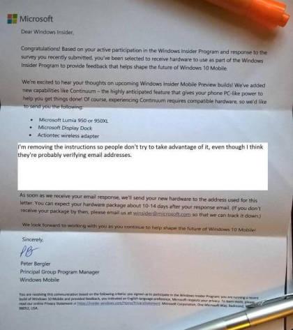 Microsoft: Brief zum Insider Hardware Programm