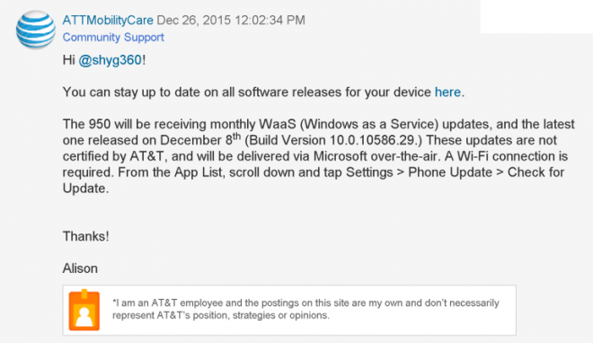 Windows 10 Mobile AT&T